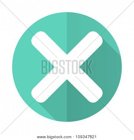 cancel blue web flat design circle icon on white background