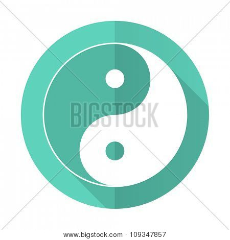 ying yang blue web flat design circle icon on white background