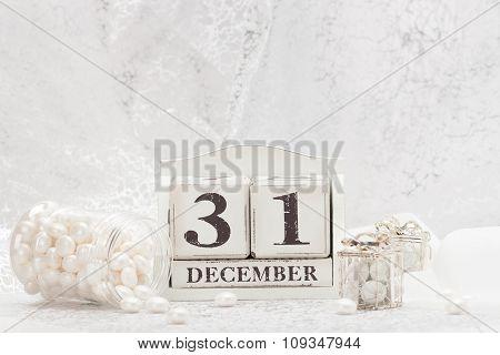 New Year Date On Calendar. December 31. Christmas Decorations. G