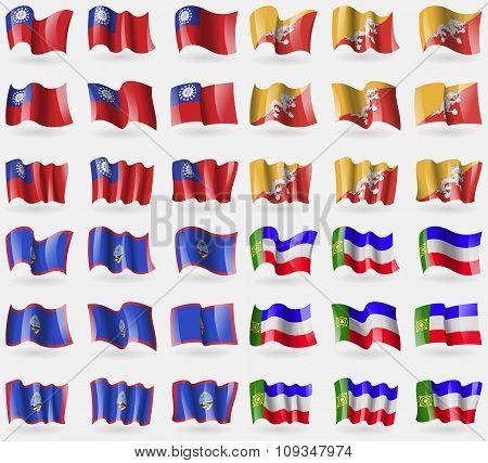 Myanmarburma, Bhutan, Guam, Khakassia. Set Of 36 Flags Of The Countries Of The World.