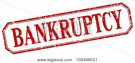 Bankruptcy Square Red Grunge Vintage Isolated Label