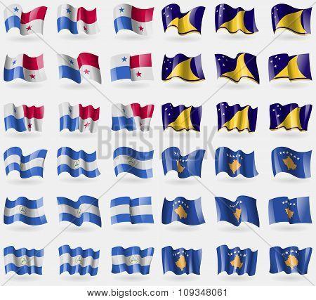Panama, Tokelau, Nicaragua, Kosovo. Set Of 36 Flags Of The Countries Of The World.