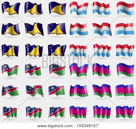 Tokelau, Luxembourg, Namibia, Kuban Republic. Set Of 36 Flags Of The Countries Of The World.