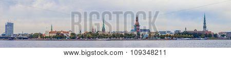 Riga old town skyline view over river Daugava