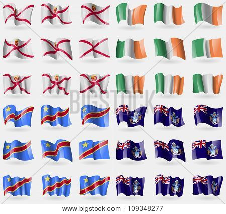 Jersey, Ireland, Congo Democratic Republic, Tristan Da Cunha. Set Of 36 Flags Of The Countries Of