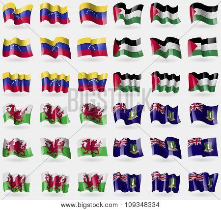 Venezuela, Palestine, Wales, Virginislandsuk. Set Of 36 Flags Of The Countries Of The World.