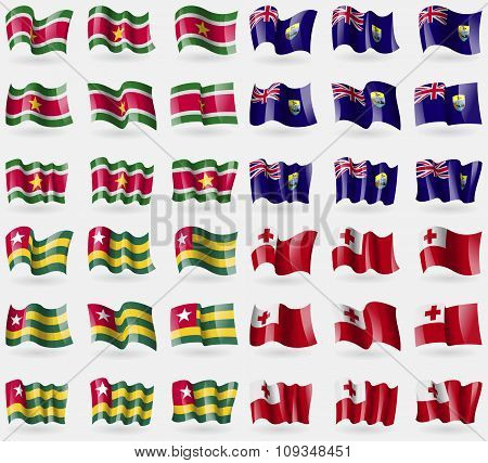 Suridame, Saint Helena, Togo, Tonga. Set Of 36 Flags Of The Countries Of The World.