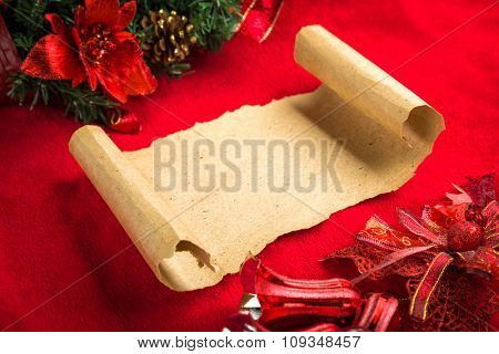 Christmas vintage scroll on red background.
