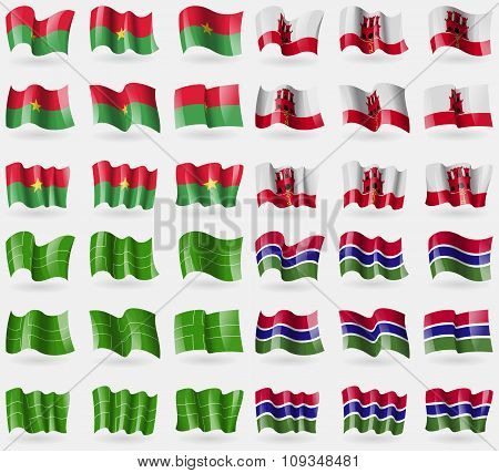 Burkia Faso, Gibraltar, Ladonia, Gambia. Set Of 36 Flags Of The Countries Of The World.