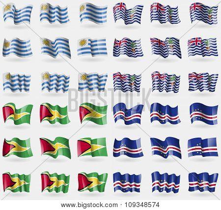Uruguay, British Indian Ocean Territory, Guyana, Cape Verde. Set Of 36 Flags Of The Countries Of