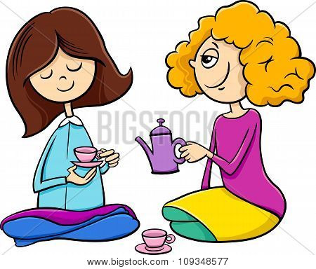 Girls Playing House Cartoon