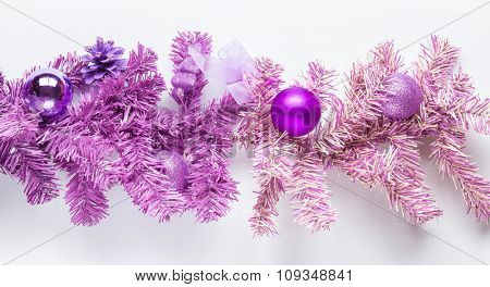 Magenta tree branch with isolated on white.