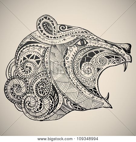 Bear in oriental tribal ornament.