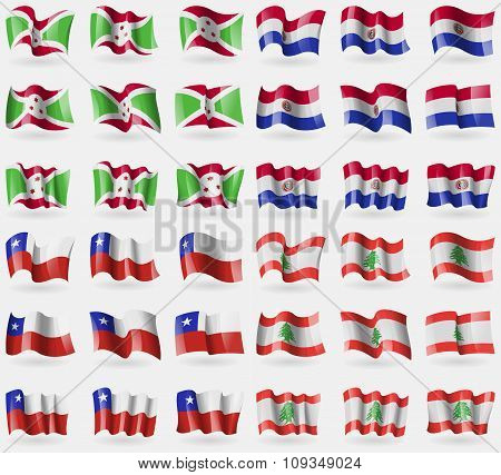 Burundi, Paraguay, Chile, Lebanon. Set Of 36 Flags Of The Countries Of The World.
