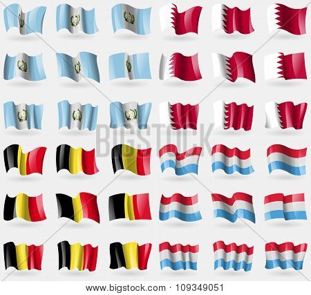 Guatemala, Bahrain, Belgium, Luxembourg. Set Of 36 Flags Of The Countries Of The World.