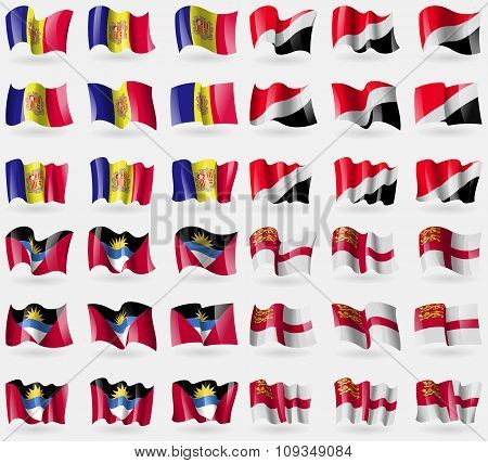 Andorra, Sealand Principality, Antigua And Barbuda, Sark. Set Of 36 Flags Of The Countries Of The