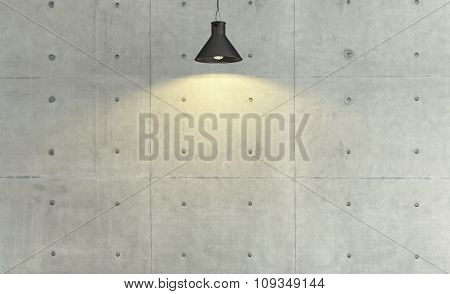 Concrete Wall Loft Style Decor With Under Light, Background, Template Design