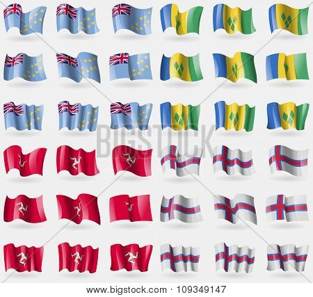 Tuvalu, Saint Vincent And Grenadines, Isle Of Man, Faroe Islands. Set Of 36 Flags Of The Countries