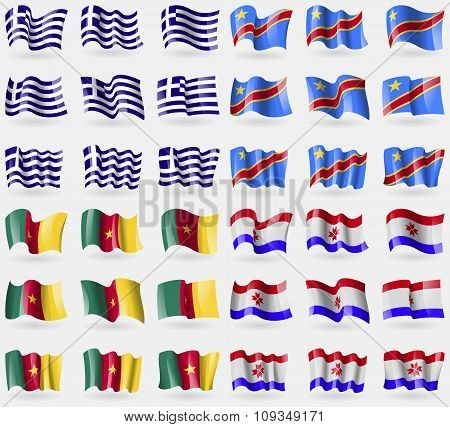 Greece, Congo Democratic Republic, Cameroon, Mordovia. Set Of 36 Flags Of The Countries Of The