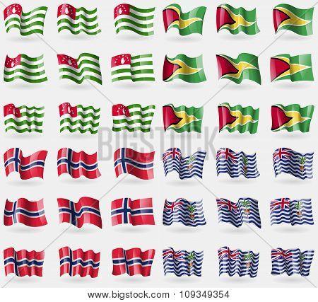 Abkhazia, Guyana, Norway, Brirish Indian Ocean Territory. Set Of 36 Flags Of The Countries Of The