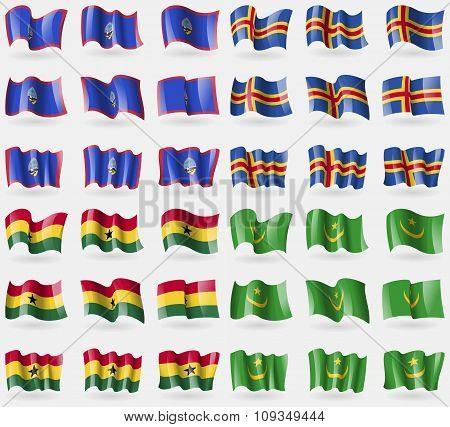 Guam, Aland, Ghana, Mauritania. Set Of 36 Flags Of The Countries Of The World.