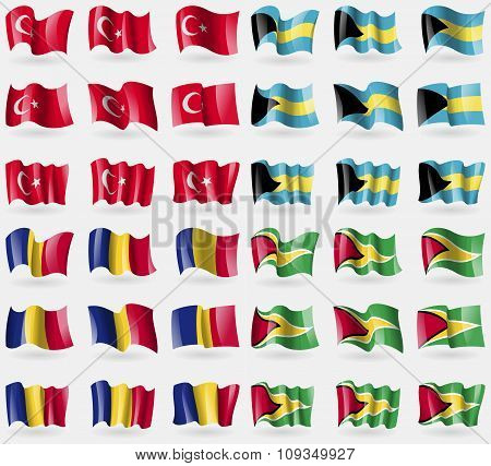 Turkey, Bahamas, Romania, Guyana. Set Of 36 Flags Of The Countries Of The World.