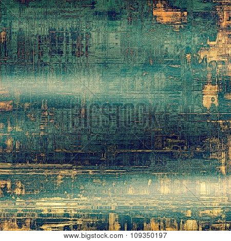 Vintage old texture with space for text or image, distressed grunge background. With different color patterns: yellow (beige); brown; green; blue