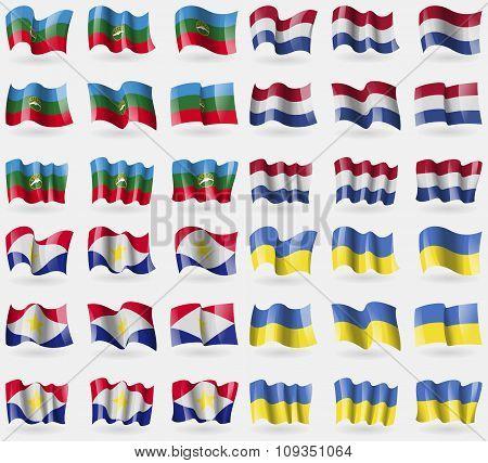 Karachaycherkessia, Netherlands, Saba, Ukraine. Set Of 36 Flags Of The Countries Of The World.