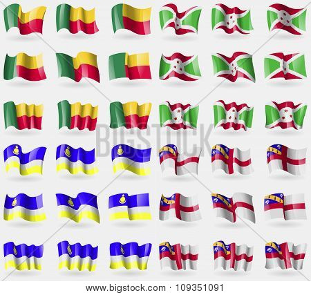 Benin, Burundi, Buryatia, Herm. Set Of 36 Flags Of The Countries Of The World.