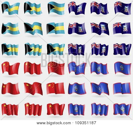 Bahamas, Falkland Islands, China, Guam. Set Of 36 Flags Of The Countries Of The