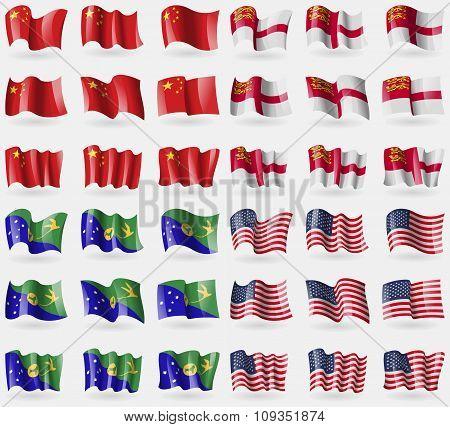 China, Sark, Christmas Island, Usa. Set Of 36 Flags Of The Countries Of The World.