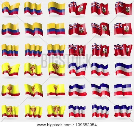 Colombia, Bermuda, Chuvashia, Los Altos. Set Of 36 Flags Of The Countries Of The World.