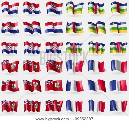 Croatia, Central African Republic, Bermuda, France. Set Of 36 Flags Of The Countries Of The World.