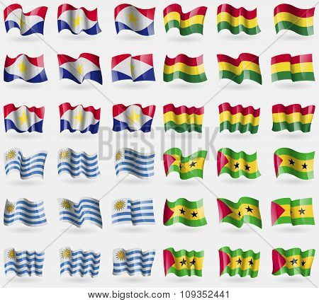 Saba, Bolivia, Uruguay, Sao Tome And Principe. Set Of 36 Flags Of The Countries Of The World.