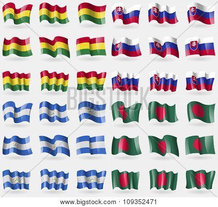 Bolivia, Slovakia, Nicaragua, Bangladesh. Set Of 36 Flags Of The Countries Of The World.