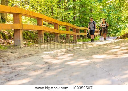 Couple Backpacker Hiking In Forest Pathway