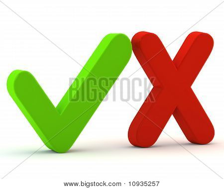 3d green yes check mark and red no