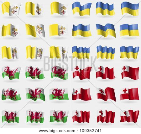 Vatican Sityholy See, Ukraine, Wales, Tonga. Set Of 36 Flags Of The Countries Of The World. Vector