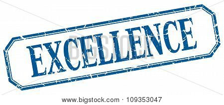 Excellence Square Blue Grunge Vintage Isolated Label
