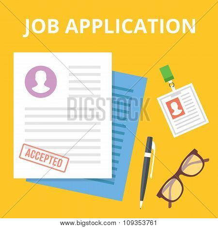 Job application flat illustration concept. Top view. Creative vector illustration