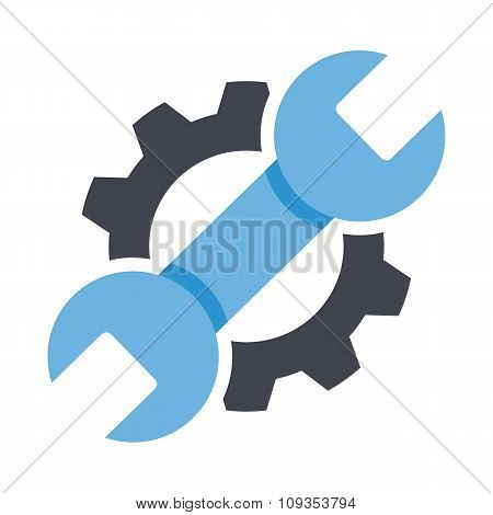 Repair service icon. Black cog and blue wrench icon concept. Repair logo