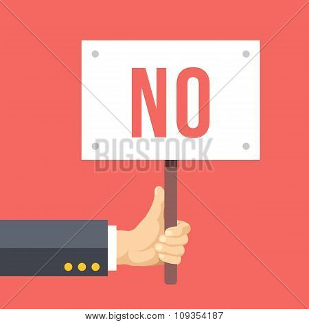 Hands holds sign with NO word. Social protest, negative reaction. Flat vector illustration