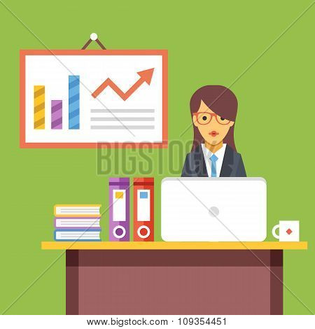 Office worker at work. Woman sitting at the desktop with laptop. Flat vector illustration