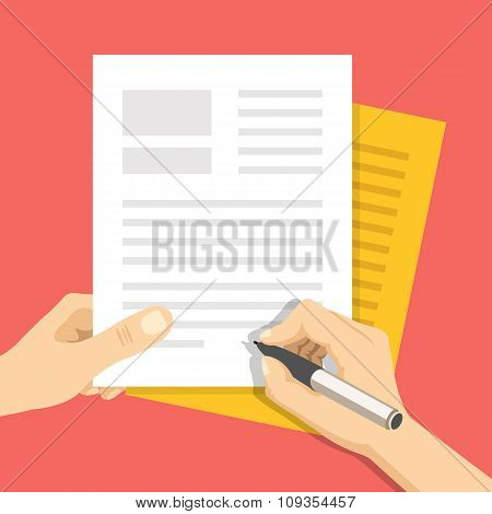Hand holds some documents and hand with pen signs documents. Treaty signing concept