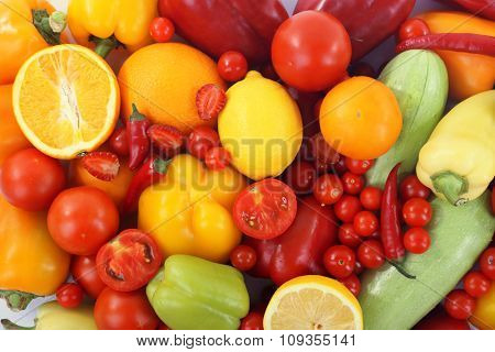 Close-up composition of various raw organic vegetables