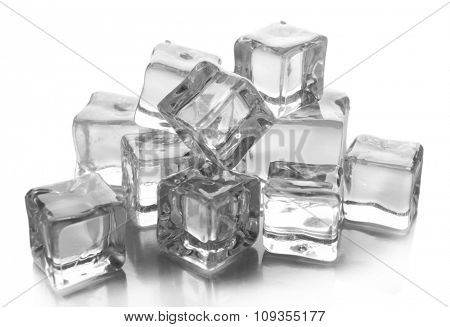 Ice cubes on grey background