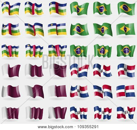 Central African Republic, Brazil, Qatar, Dominican Republic. Set Of 36 Flags Of The Countries Of