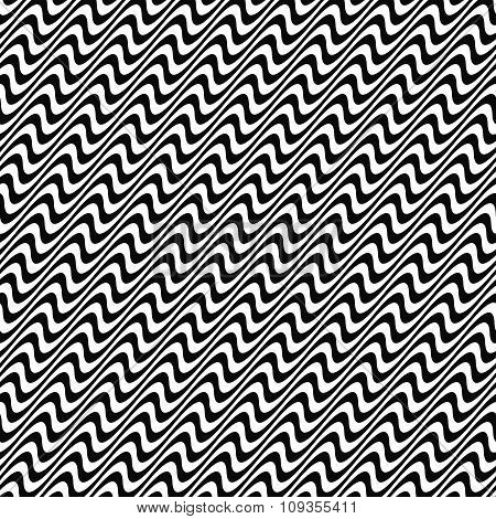 Black and white seamless wave pattern
