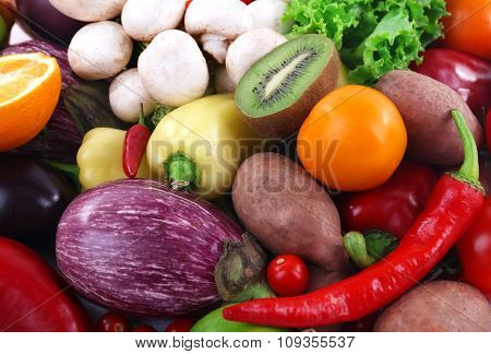 Colourful fruit and vegetable background