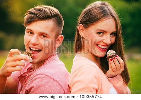 Lovers With Muffins Outdoor